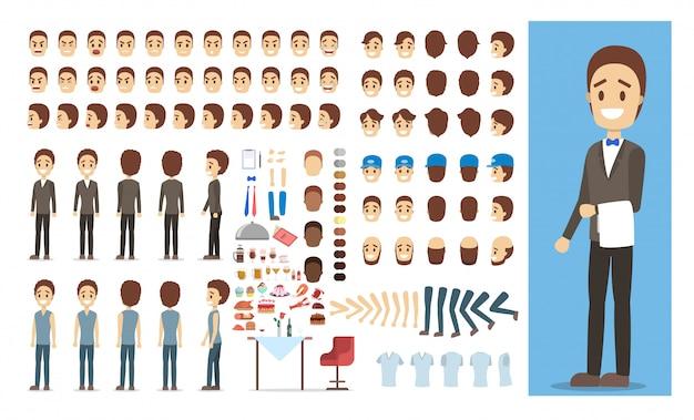 Personagem masculino garçom no uniforme conjunto ou kit de animação com várias vistas, penteado, emoção, pose e gesto.