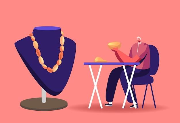 Personagem masculino joalheiro trabalhando em oficina de fazer belas joias de âmbar