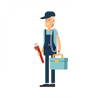 Personagem masculino legal encanador em pé segurando a ferramenta