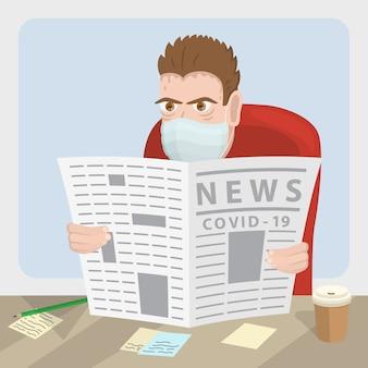 Personagem masculino, lendo um jornal. ilustração.