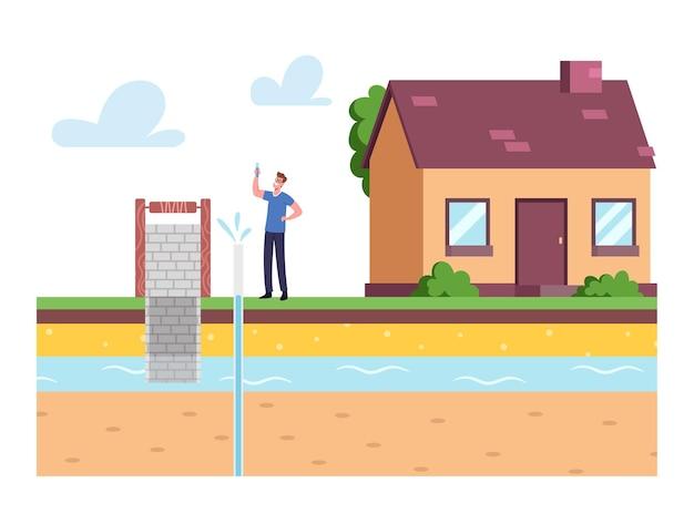 Personagem masculino no quintal da frente da casa segurando um tubo de ensaio com amostra de água, testando água subterrânea ou água artesiana para perfuração de poços