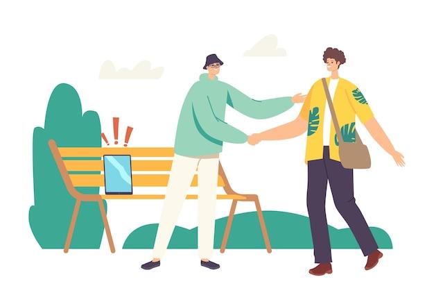Personagem masculino perdeu tablet ou smartphone no banco no parque enquanto encontrava seu amigo. homem distraído perde dispositivo digital durante caminhada e tempo livre ao ar livre. ilustração em vetor desenho animado