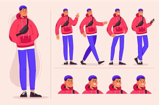 Personagem masculino poses pacote de ilustração