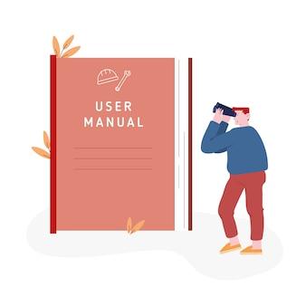 Personagem masculino que olha no enorme manual do usuário