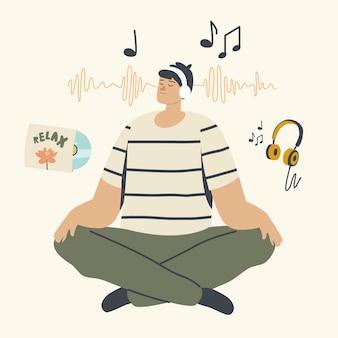 Personagem masculino relaxado meditando nos fones de ouvido e ouvindo música relaxante