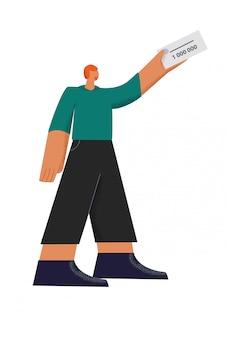 Personagem masculino, segurando o bilhete de loteria vencedor 1 000 000 plana ilustração isolado no branco