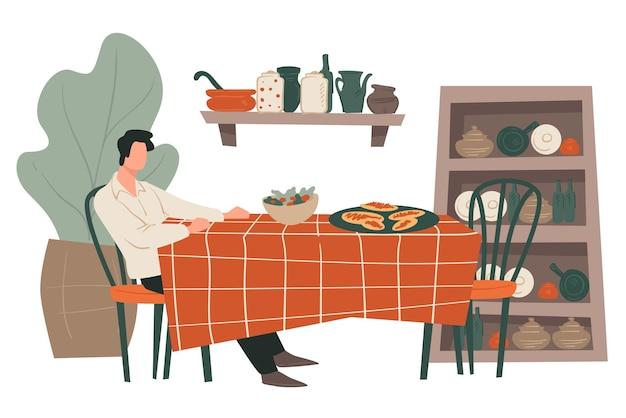 Personagem masculino sentado à mesa do restaurante. homem tomando café da manhã, jantar ou almoçar sozinho. interior do café ou bistrô com prateleiras e armário, plantas decorativas com folhagem. vector no plano
