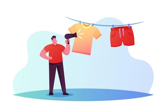 Personagem masculino usa ventilador para secar roupas penduradas na corda