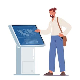 Personagem masculino usando quiosque de informações lendo informações na tela do dispositivo digital interativo