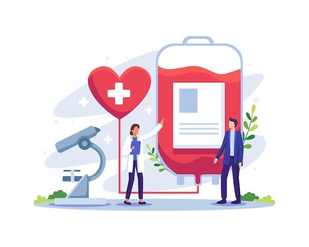 Personagem masculino voluntário doando sangue ilustração do conceito do dia mundial do doador de sangue doação de sangue