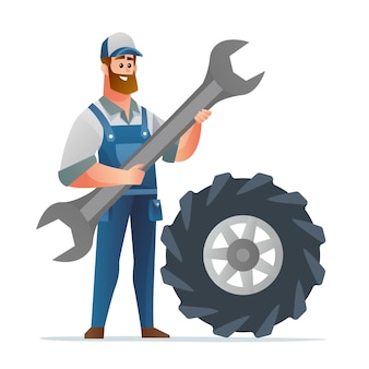 Personagem mecânico profissional segurando uma chave grande com um pneu grande