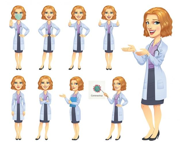 Personagem médica conjunto e coronavírus