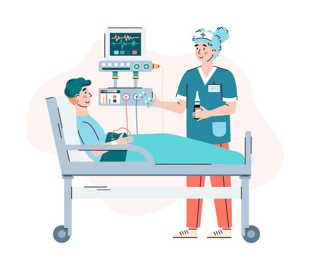 Personagem médico aconselhando paciente em desenho de hospital