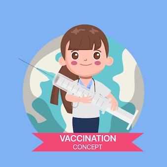 Personagem médico com uma vacina para proteger da vacina contra a gripe covid-19.