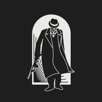 Personagem misterioso de gangster / máfia