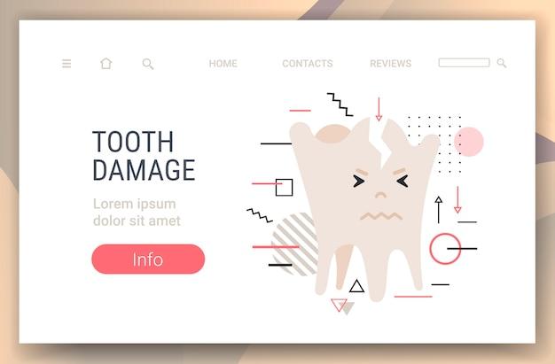 Personagem molar quebrado doente e insalubre dente danos odontologia conceito cópia espaço