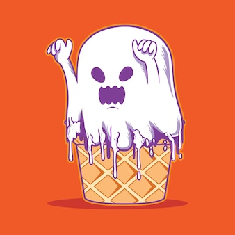 Personagem monstro de sorvete de halloween peek a boo