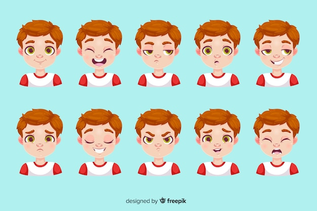 Personagem mostrando emoções