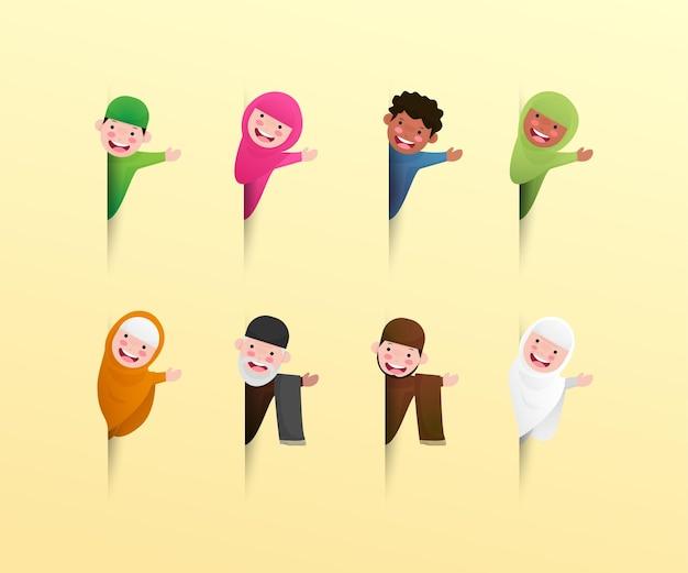 Personagem muçulmana feliz fofa cumprimentando o ramadã