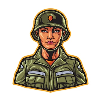 Personagem mulher do exército militar