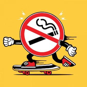 Personagem não fumadores do skate do skater do sinal