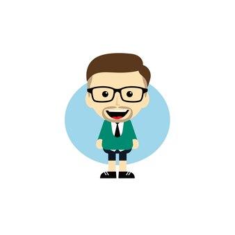 Personagem nerd do geek do cartoon