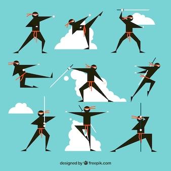 Personagem ninja bonito em poses diferentes, com design plano