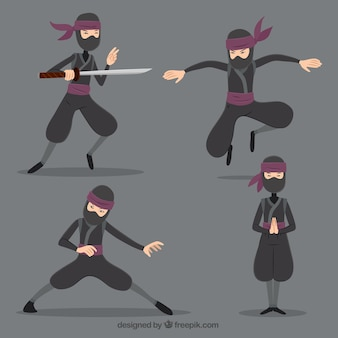 Personagem ninja em poses diferentes