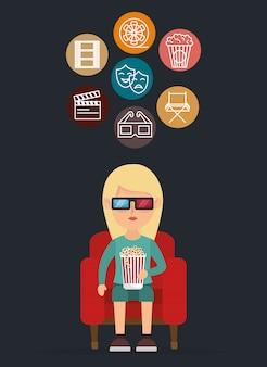 Personagem no cinema comendo pipoca