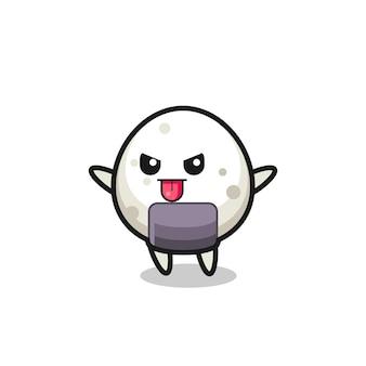 Personagem onigiri travesso em pose de zombaria, design de estilo fofo para camiseta, adesivo, elemento de logotipo