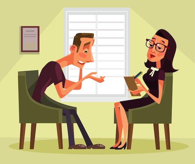 Personagem paciente conversando com psicólogo sobre problemas.