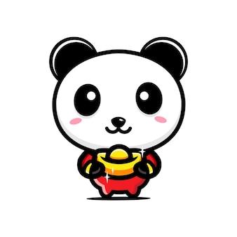 Personagem panda fofo abraçando ouro