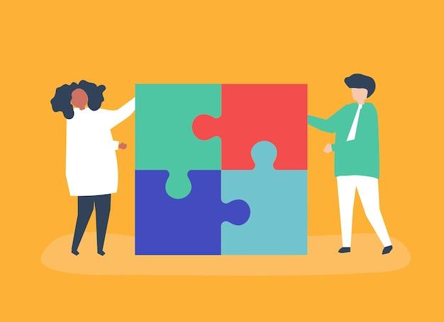 Personagem, par, resolvendo, quebra-cabeça, pedaços, ilustração