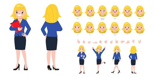 Personagem para animação boca e rosto de mulher de negócios bonita.