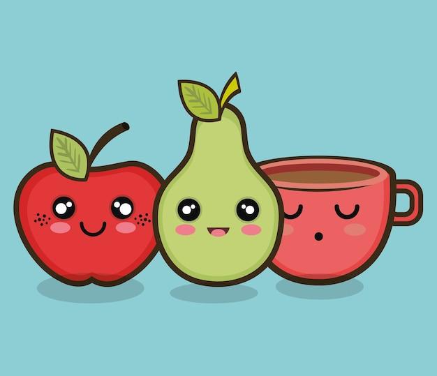 Personagem pêra e copo de maçã