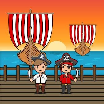 Personagem pirata na doca