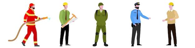 Personagem plana de bombeiro, guarda de segurança, arquiteto, conjunto mecânico