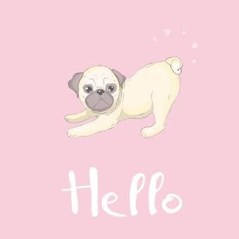 Personagem plana de cão pug fofo com língua vermelha e sorriso no rosto