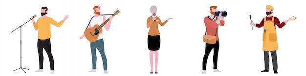 Personagem plana de conjunto de artista