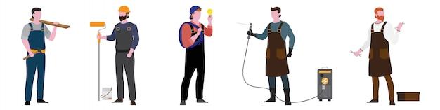Personagem plana de conjunto de trabalho