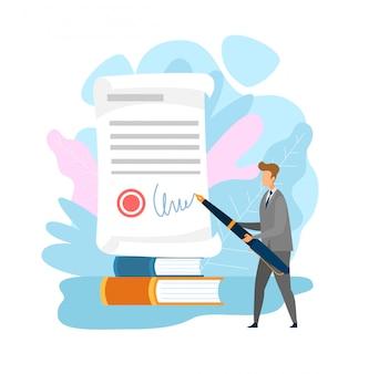 Personagem plana de documento de preenchimento de empresário