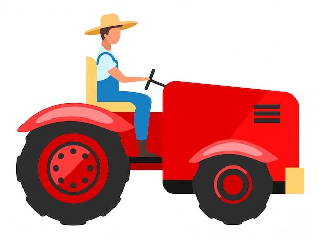 Personagem plana de motorista de trator. trabalhador agrícola, dirigindo a ilustração dos desenhos animados de máquinas agrícolas. indústria agropecuária. colheita, equipamento de plantio, máquina isolada no fundo branco