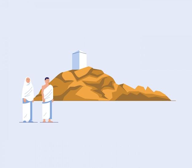 Personagem plana de peregrinos hajj no monte arafat