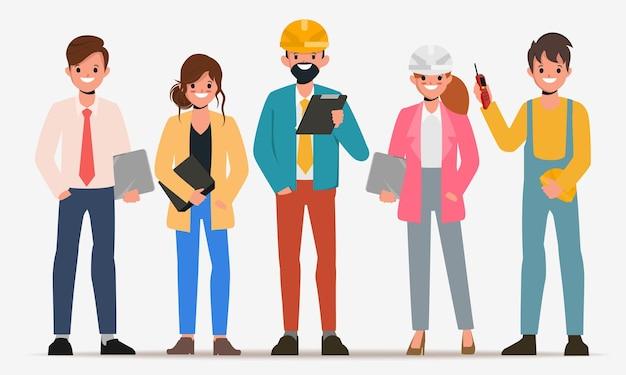 Personagem plana de trabalho em equipe de engenharia vetor de desenho animado