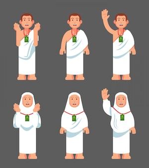 Personagem plana moderna do personagem de peregrinação hajj