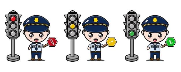 Personagem policial com placas e semáforos