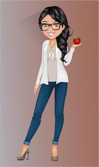 Personagem profissional de mulher segurando uma maçã