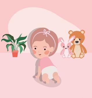 Personagem rastejando de bebê menina