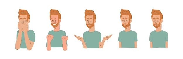 Personagem representando cinco estágios de luto, negação, raiva, barganha, depressão, aceitação