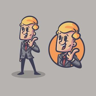 Personagem retrô de empresário mascote